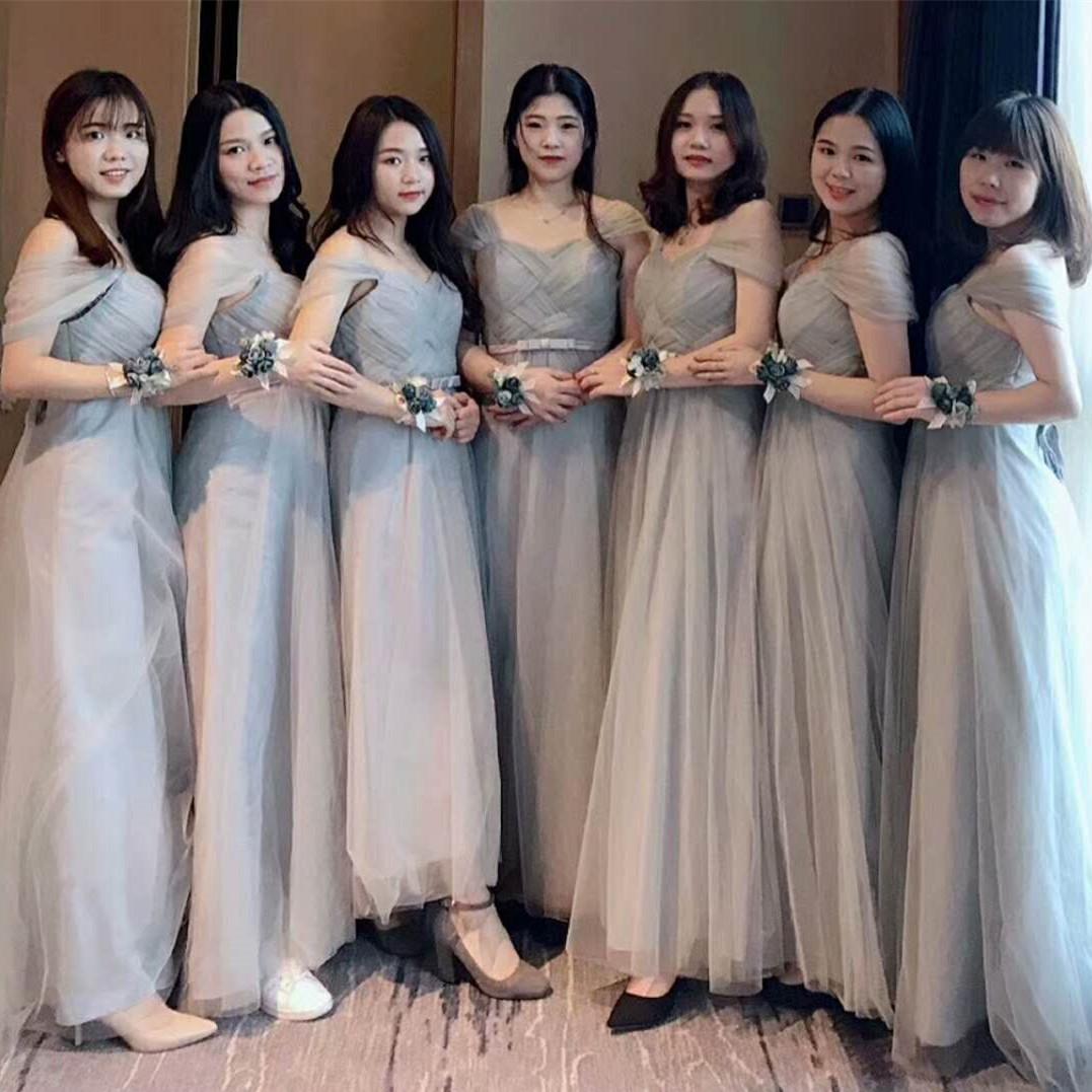 伴娘服2019新款秋季婚礼显瘦粉色大码仙气质长款姐妹裙女晚礼服