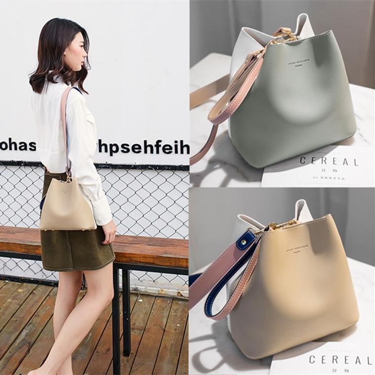 2020夏季新款女包拼色水桶包撞色韩版宽肩带单肩斜挎手提包大容量