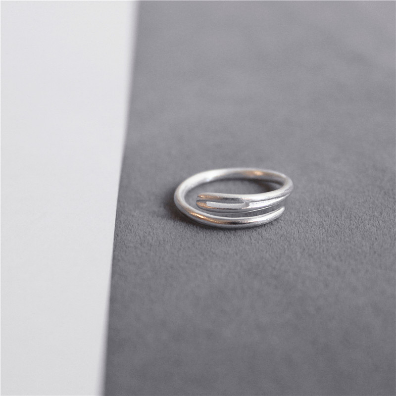 925 Silver Designers one pin minimalist frosted creative small fresh neutral retro style couple ring