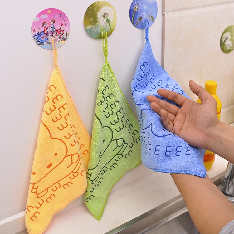 超细纤维擦手巾卡通印花小方巾宝宝口水可爱小毛巾百洁布搽手巾