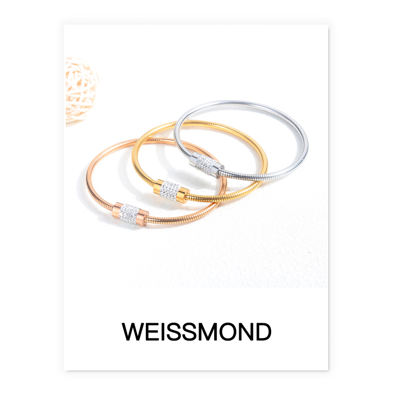 Weissmond new simple opening diamond square snake chain mens and womens fashion Magnetic Bracelet