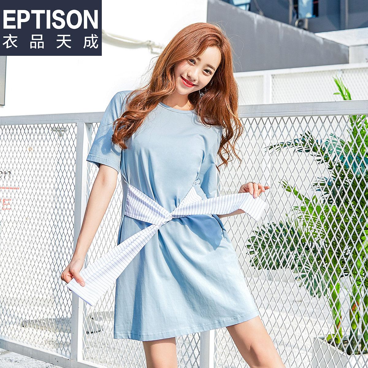 【买1送1】衣品天成2018韩版女装夏装时尚宽松圆领短袖连衣裙女条
