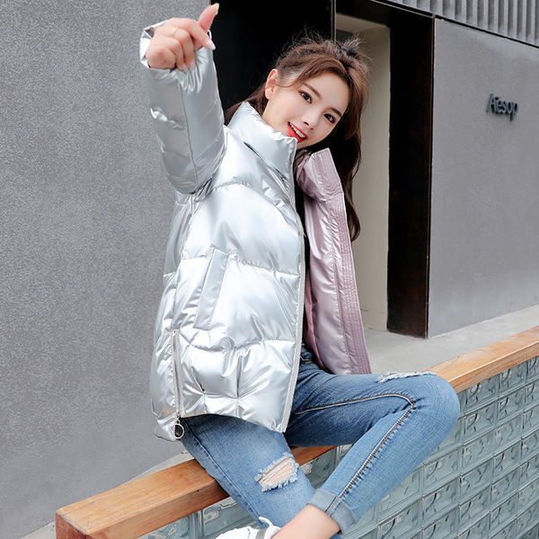 Wash free bright face short down cotton jacket womens 2021 off-season new loose stand collar cotton jacket bread Jacket Womens jacket trend