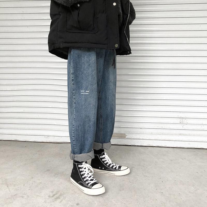 夏季港风chic宽松直筒九分裤牛仔裤限时抢购