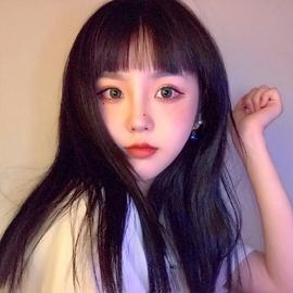 网红假发女黑长直发锁骨发一刀平黑色可爱自然修饰圆脸整顶假发套图片