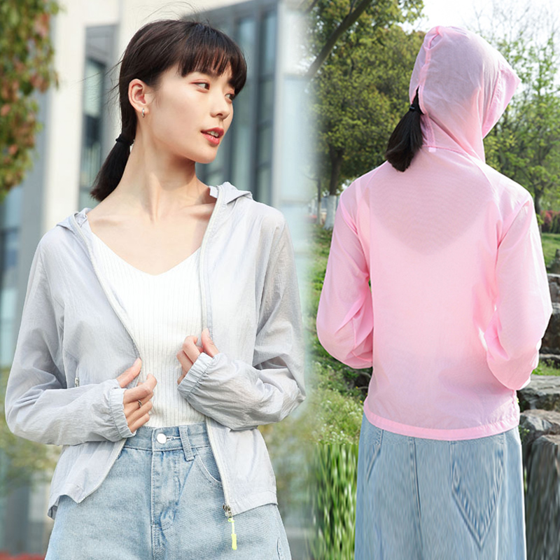 High neck hooded windproof face protection sunscreen summer thin coat short solid color long sleeve versatile casual sunscreen blouse for women