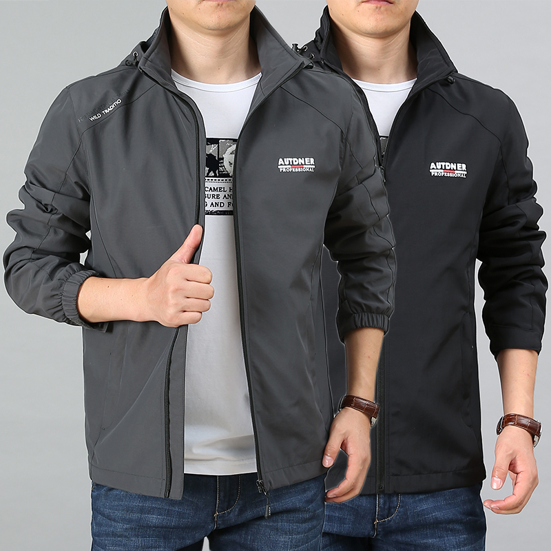 Middle aged male spring and autumn outdoor stormsuit mens new casual coat mens hooded jacket upper garment