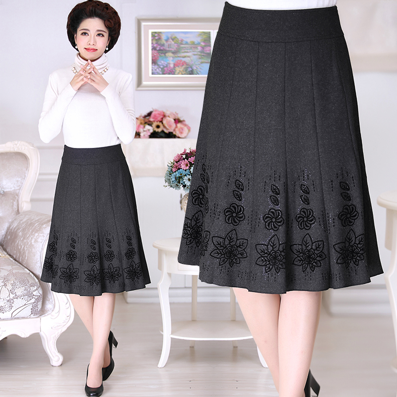 Mothers autumn and winter half length skirt middle-aged and old womens new winter skirt high waist skirt printed fashion dress 50 years old