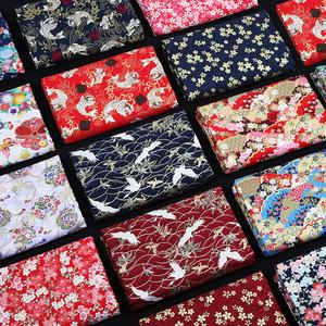 领3元券购买日本和风布料 烫金棉布 日式花布纯棉中国风汉服古风旗袍面料清仓