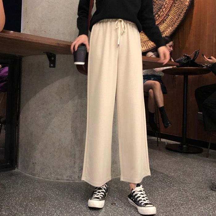 实拍新款韩版高腰直筒学生宽松坠感九分裤阔腿裤潮