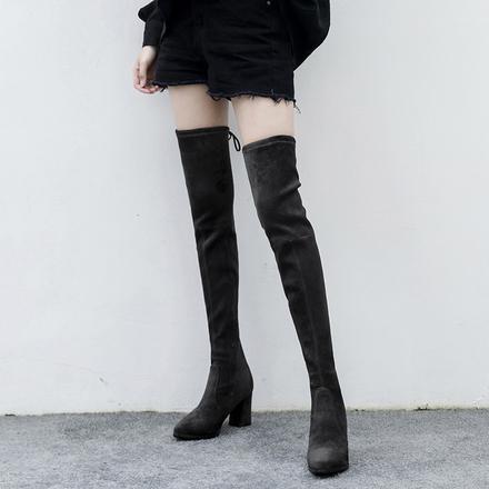 5050高筒显瘦粗跟过膝弹力长靴中高跟2018新款加绒女平底长筒靴子