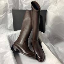 6OE80DG0冬长筒皮靴商场同款预2020谭松韵同款天美意高筒骑士靴女
