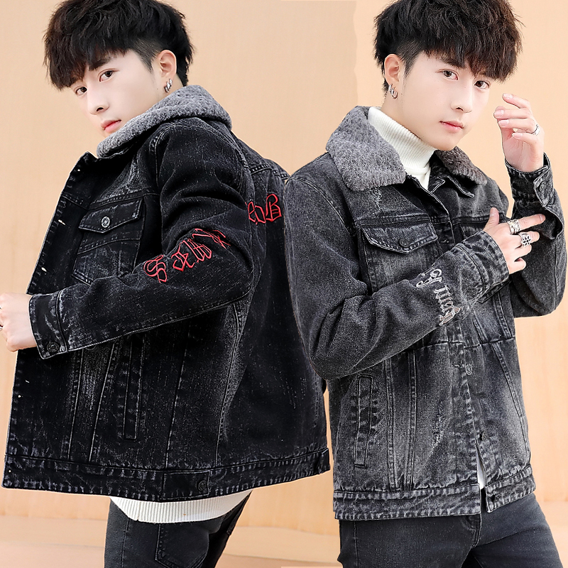 Autumn and winter 13 Plush thickened 14 Korean 15 handsome clothes 16 junior high school students mens jacket denim coat