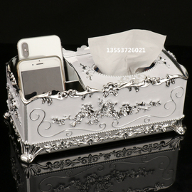 欧式纸巾抽纸盒客厅简约家用纸抽创意茶几餐巾多功能遥控器收纳盒图片