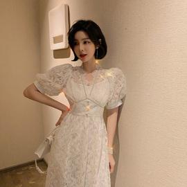白色小晚礼服裙女平时可穿2020宴会气质法式蕾丝仙气长裙连衣裙夏