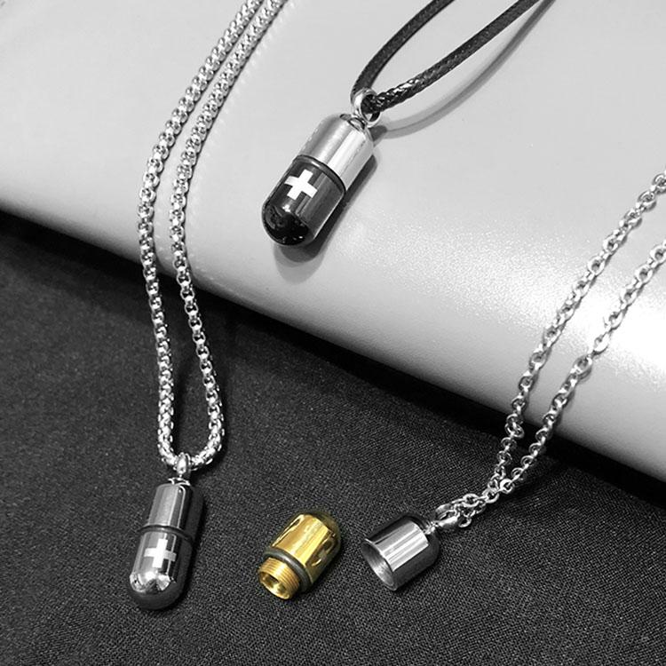 吊坠嘻哈潮人男女礼物潮创意简约钛钢要丸胶囊项链可以装放东西