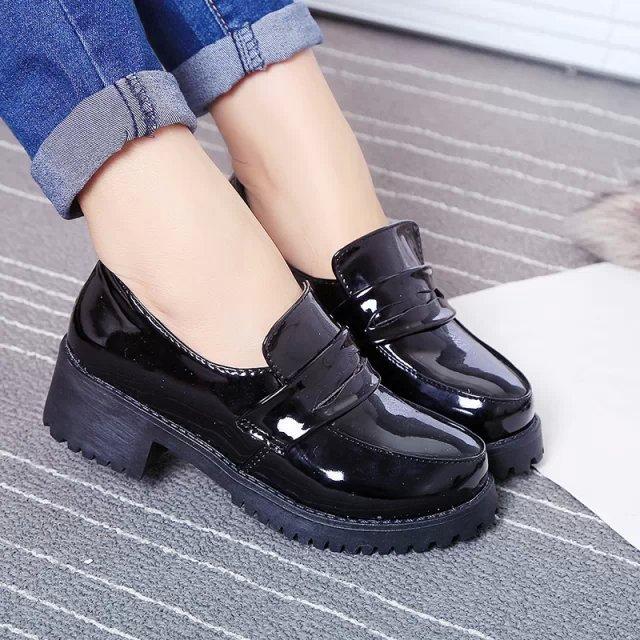 CD伪娘女装日系大码JK制服鞋万用学院风变装圆头学生COS小黑皮鞋
