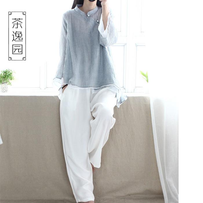 茶逸园夏茶人服女禅意文艺棉麻复古中国风女装茶艺师服中式上衣汉
