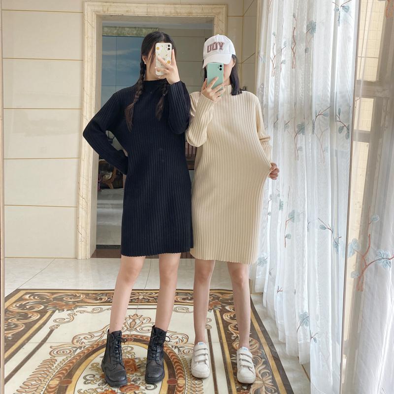 针织连衣裙女2020秋冬新款小个子中长款宽松半高领内搭打底毛衣裙
