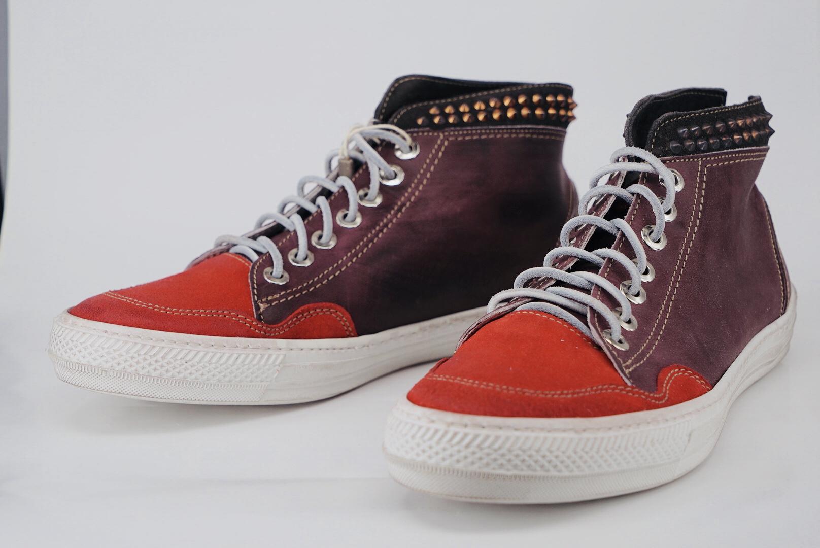 现货HTC限量铆钉手工做旧翻毛皮质运动鞋