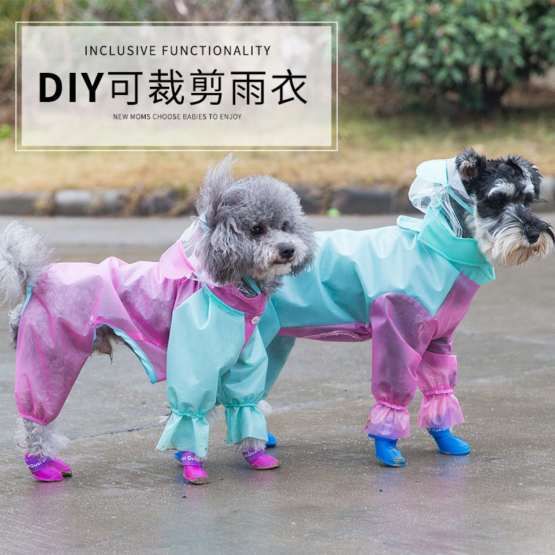 Dog four legged raincoat Teddy small puppy spring and summer clothes