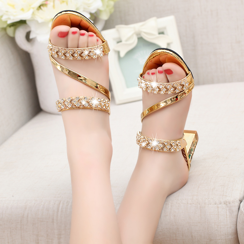Womens shoes 2020 new spring net red sandals womens outer wear medium heels thick heels open toe high heels Rhinestones are fashionable and versatile