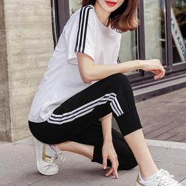 运动套装女2020年夏装新款大码纯棉宽松休闲健身服洋气短袖两件套