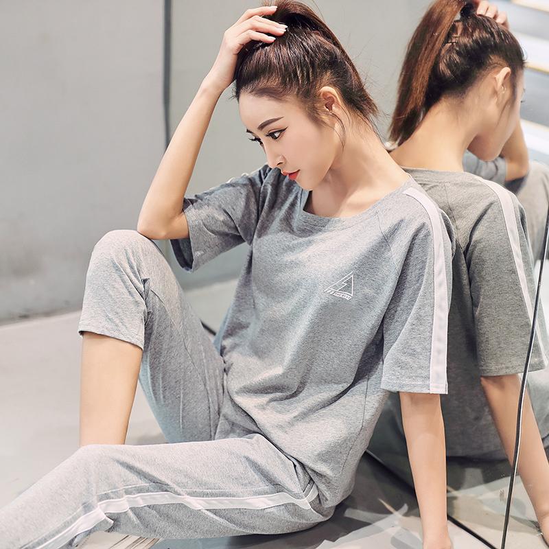 2020新款纯棉宽松休闲运动套装跑步服两件套女夏短袖九分裤瑜伽服