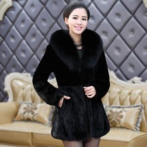 海宁狐狸毛领兔毛皮草外套中长款皮毛一体短款秋冬季妈妈女装显瘦