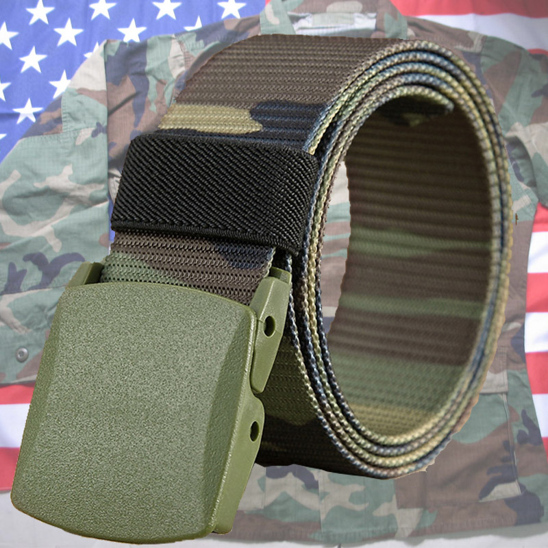 Outdoor female students military training camouflage clothing belt sports belt mens trendy overalls plastic head nylon quick drying belt