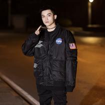NASA宇航员飞行员夹克外套男冬季加厚保暖机能工装风棒球服棉服潮