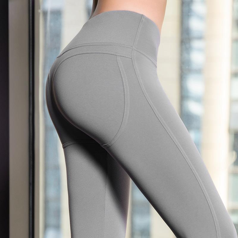 高腰提臀健身裤紧身瑜伽裤纯色运动九分裤锦纶跑步女裤弹力训练裤