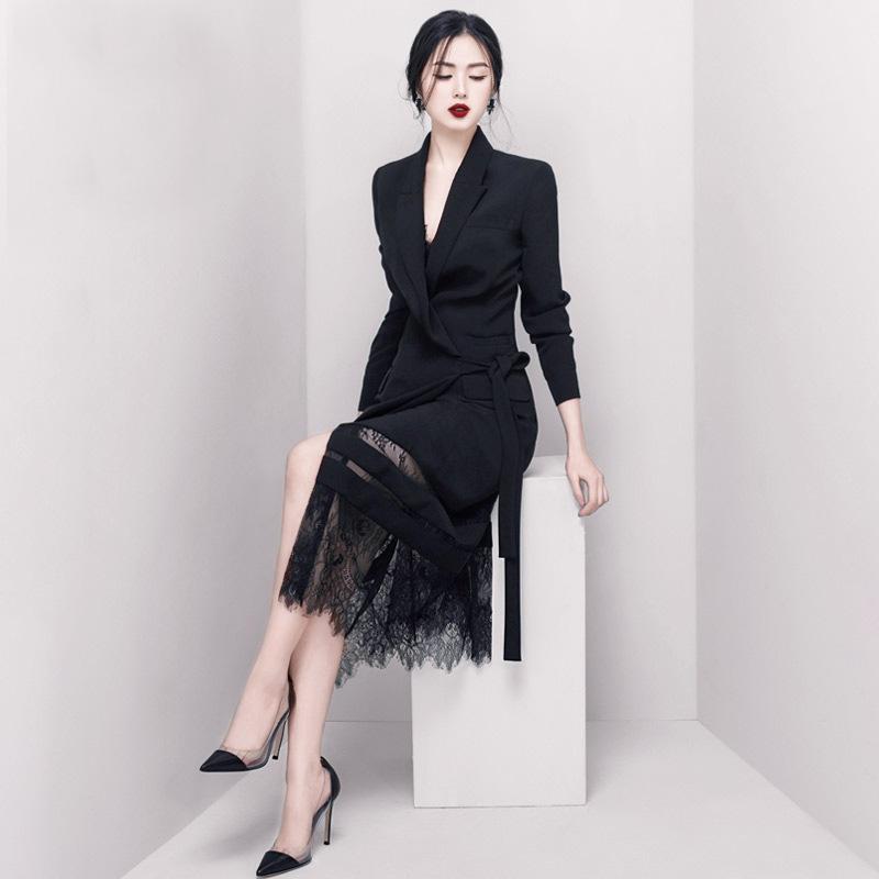 2019早春新款黑色名媛职业干练气质假两件套蕾丝中长款西装连衣裙