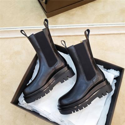 升级版~牛皮真皮厚底马丁靴女中筒靴机车靴切尔西短筒骑士靴女靴