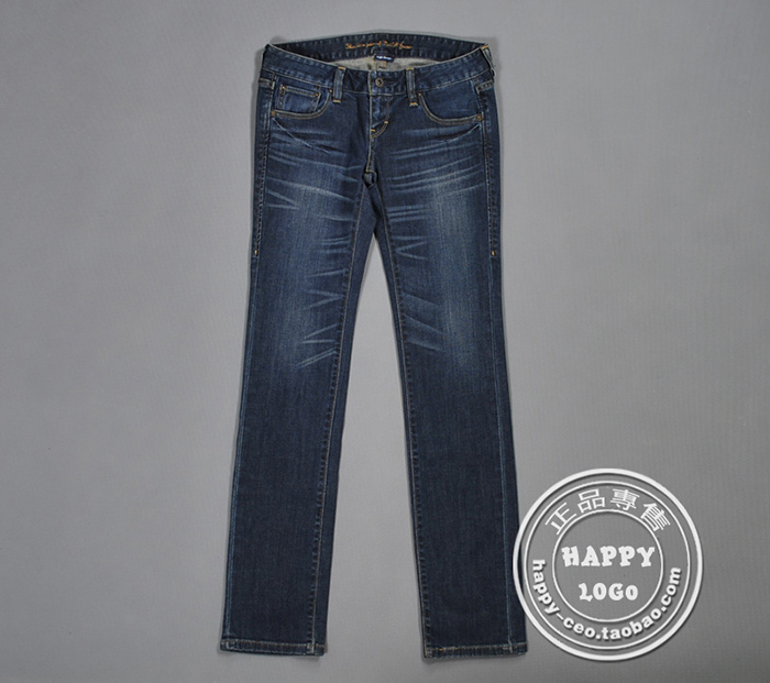 Clean up the warehouse with super value original sheet dark blue retro wash l family womens low waist small straight jeans