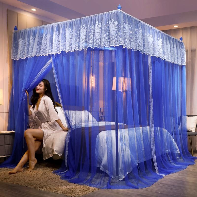 蚊帐公主风家用1.8m床宫廷三开门落地支架少女心床纱床幔加密加厚