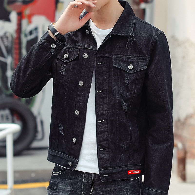 2018 new Korean denim jacket mens autumn and winter fashion trend solid color coat mens black mens denim jacket