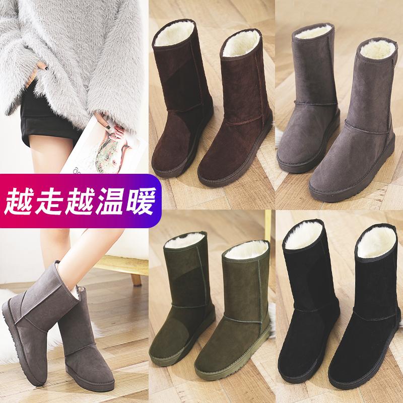 雪地靴女2019秋冬季新款时尚一脚蹬加绒棉鞋加厚防水防滑中筒短靴