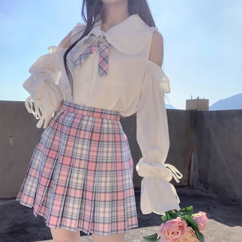 Fall 2020 new Japanese soft girl lace Lolita with baby collar long sleeve white shirt blouse / fine