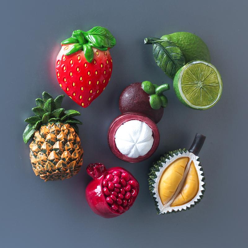 家居装饰磁姓贴立体草莓菠萝榴莲山竹磁贴3D仿真食物水果箱贴