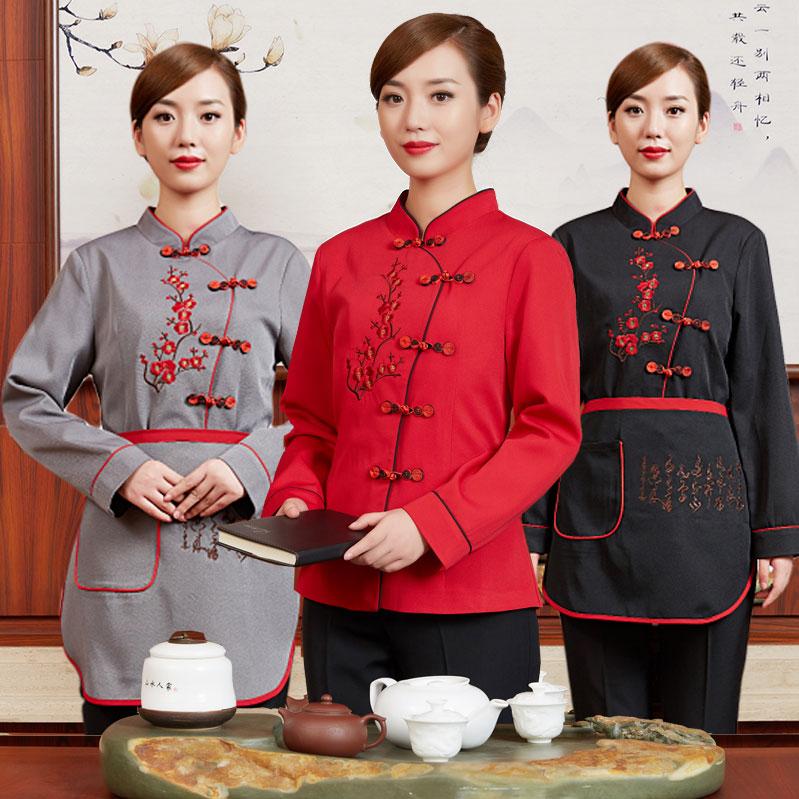 饭店服务员工作服女中国风农家乐中式餐饮民族风工装秋冬长袖加棉