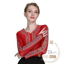 新疆舞蹈演出服装练功服连衣维吾尔族民族舞台表演装长袖女包邮
