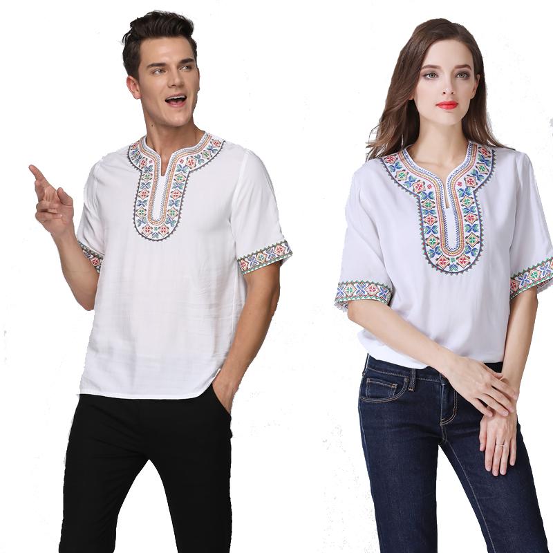 男女式新品衬衫新疆民族特色刺绣舞蹈服维族绣花舞台表演出服短袖