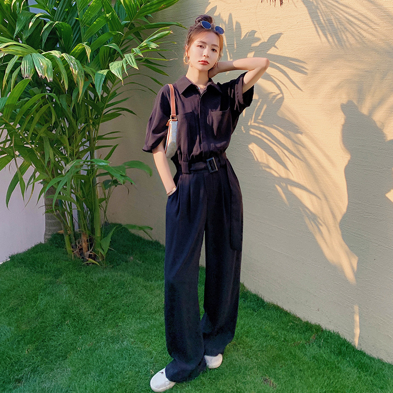 2021 summer new slim and foreign style mop floor shirt Jumpsuit womens pants super long ankle wide leg pants womens pants