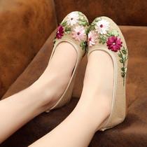 春夏新品女鞋老北京布鞋民族风绣花鞋子平底妈妈亚麻大码棉麻单鞋