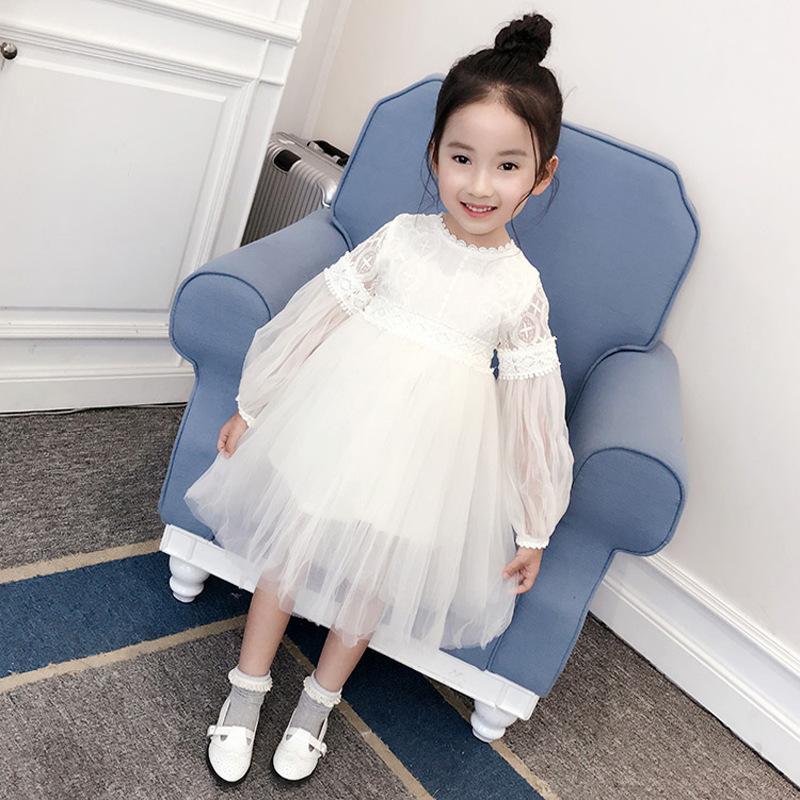 女童春秋季超仙花边蕾丝纱裙2019新款夏季女孩白色连衣裙公主裙子