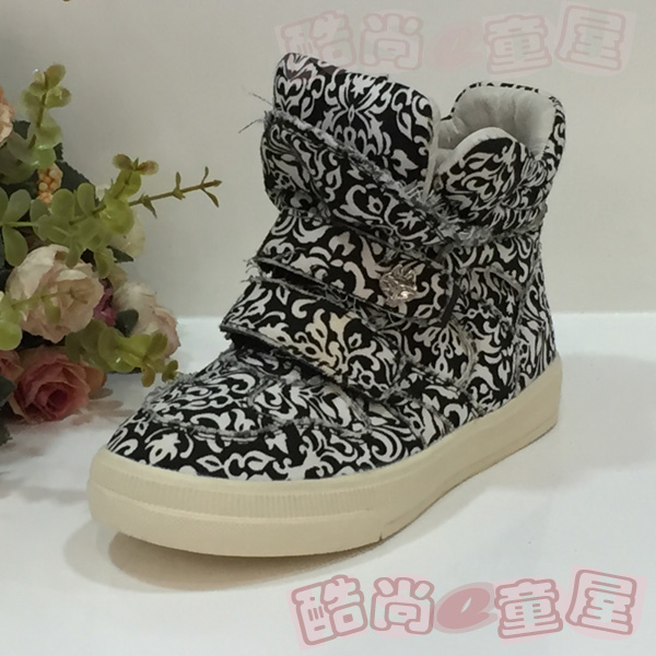 Dora cat fashion childrens shoes cotton black and white printed cotton high top casual shoes spring and autumn board shoes