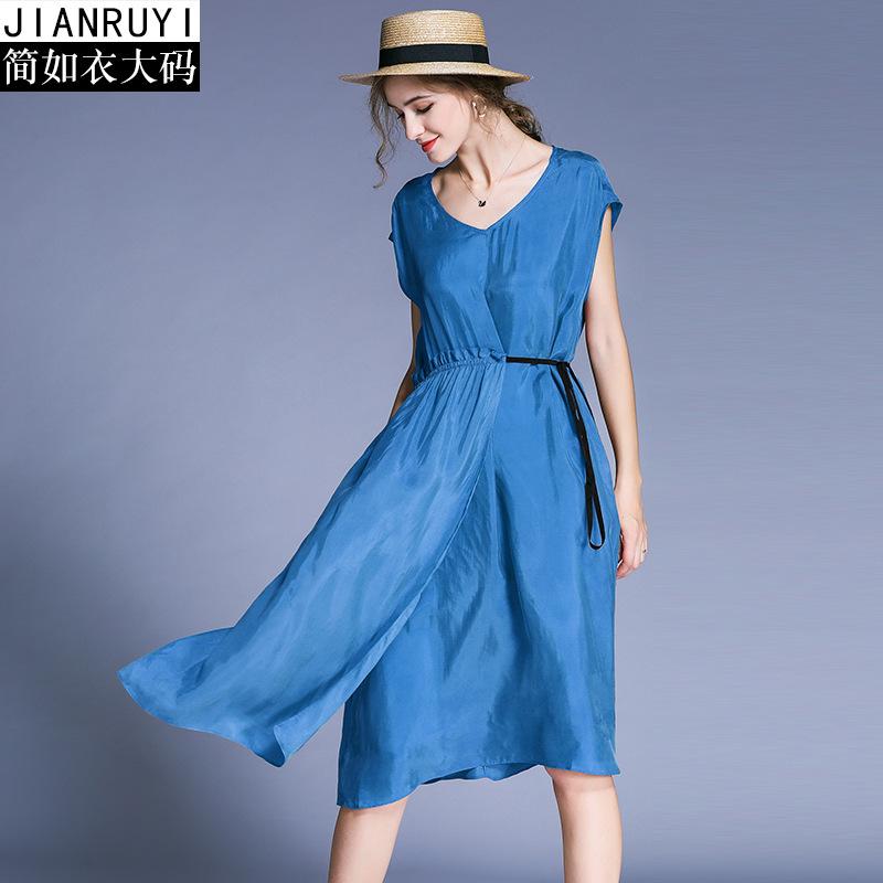 2018新款女装大码连衣裙氨铜丝裙子女减龄显瘦胖mm洋气收腰长裙