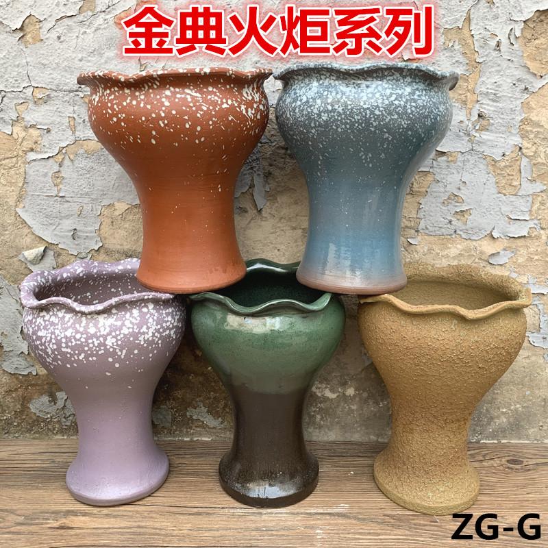 手工陶艺土陶罐子高陶瓷复火炬花盆