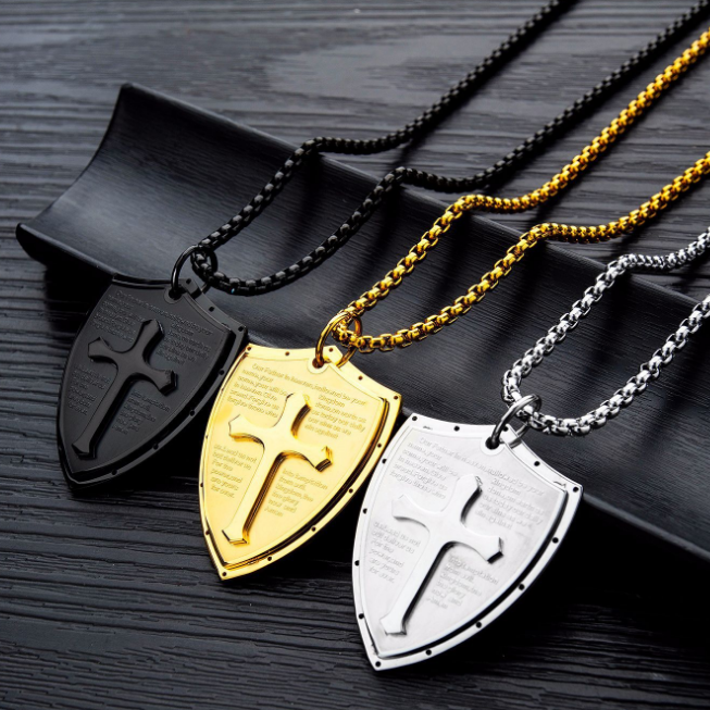 Royal aristocrat Knight triangle shield titanium steel three color brother Necklace male domineering cross free lettering